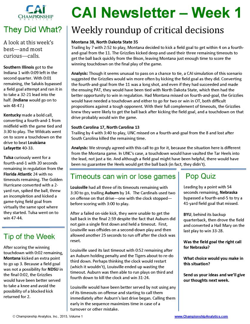 CAI Newsletter - Week 1 2015 v2