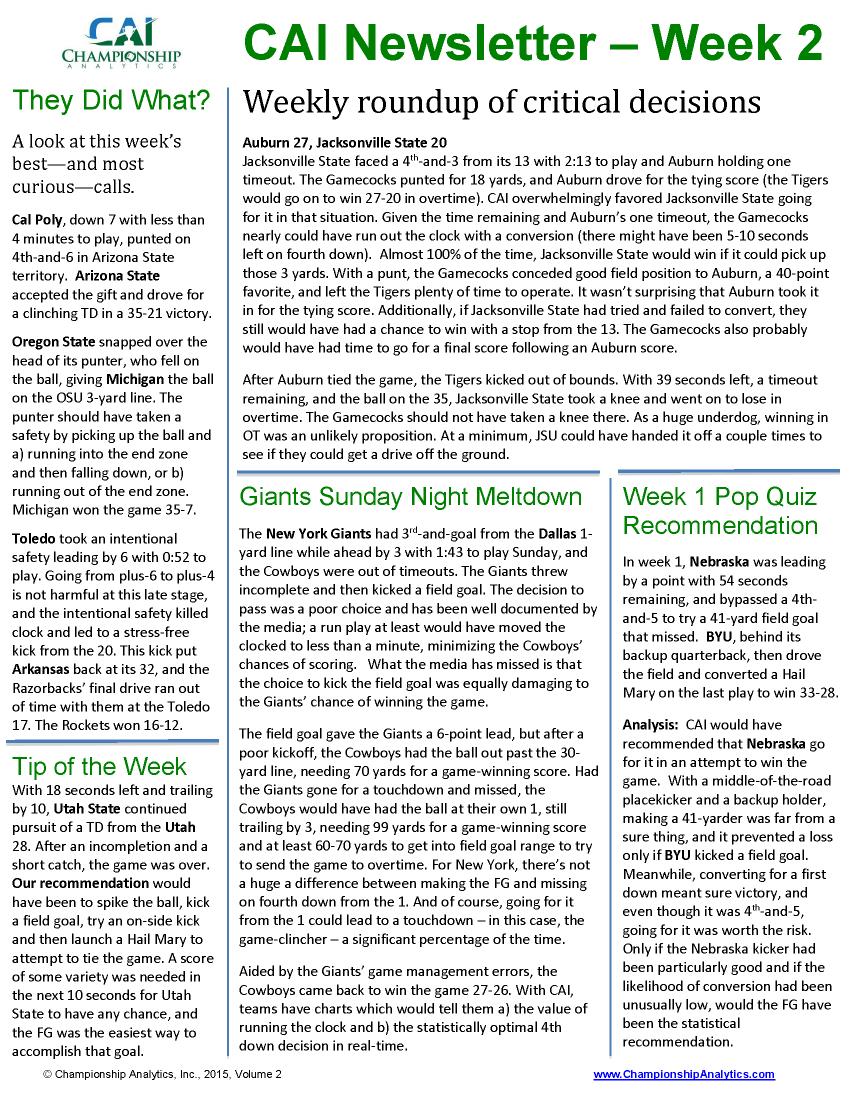 CAI Newsletter - Week 2 2015