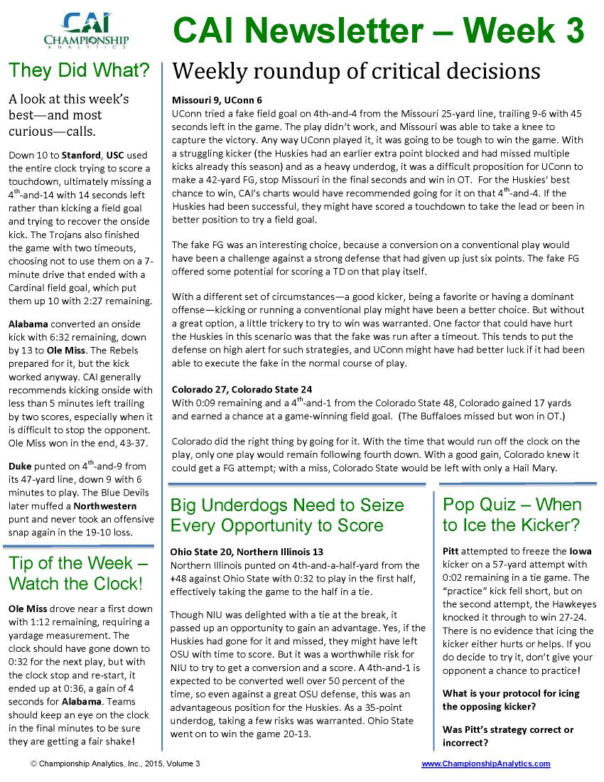 CAI Newsletter - Week 3 2015