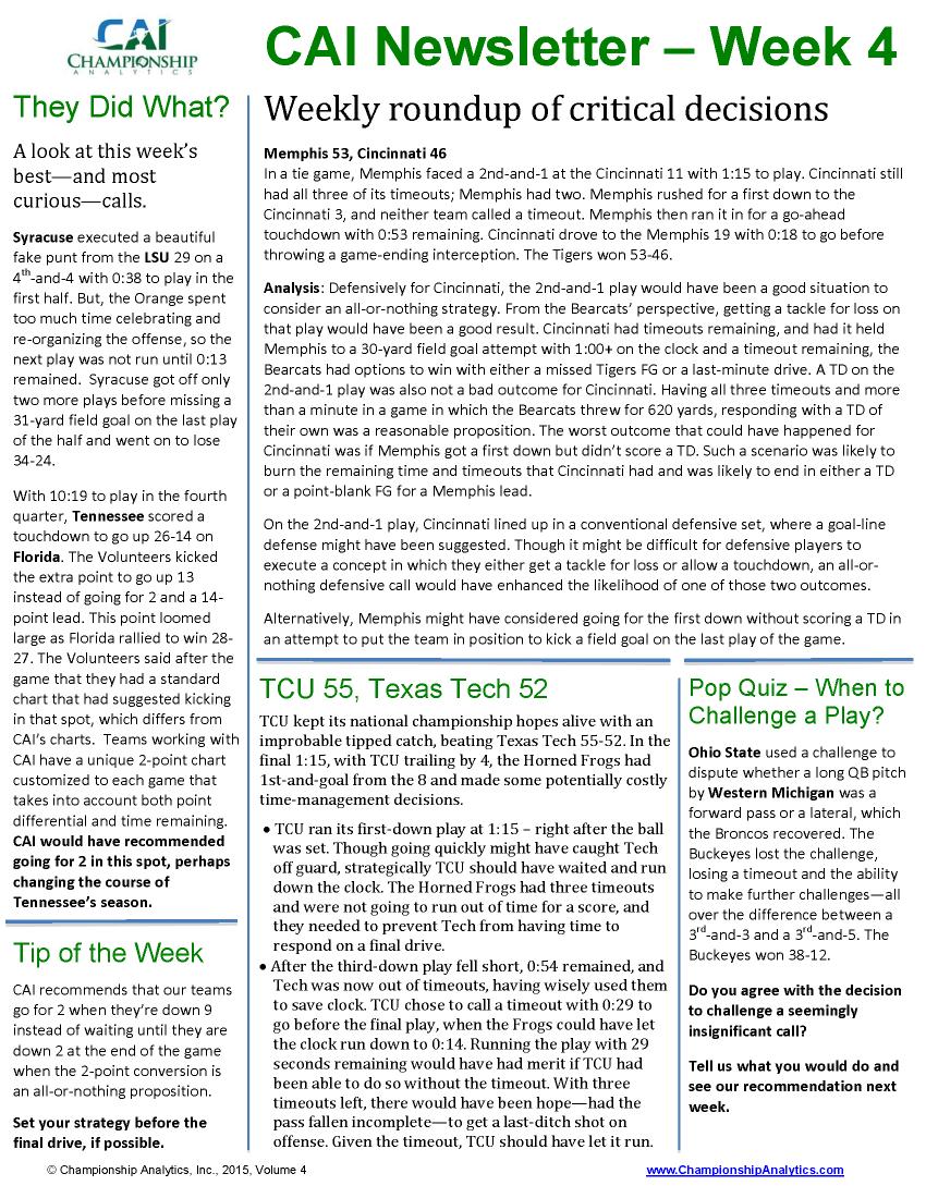CAI Newsletter - Week 4 2015