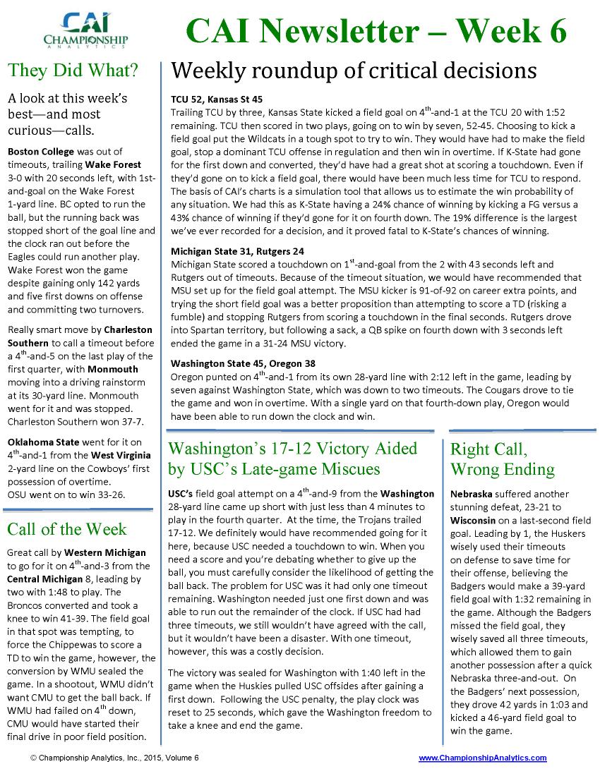 CAI Newsletter - Week 6 2015