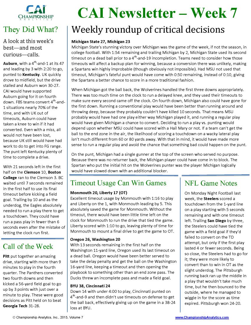 CAI Newsletter - Week 7 2015