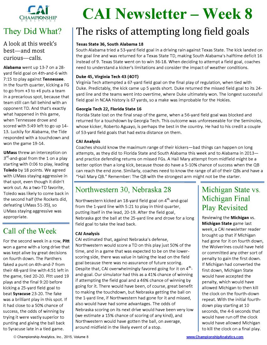 CAI Newsletter - Week 8 2015