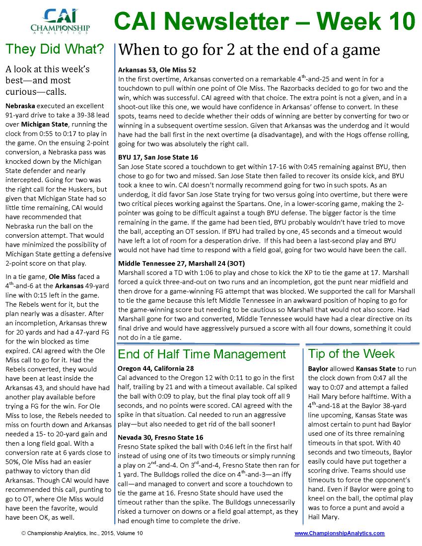 CAI Newsletter - Week 10 2015