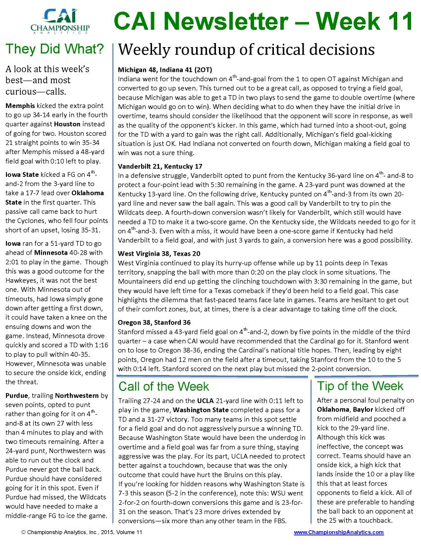 CAI Newsletter - Week 11 2015