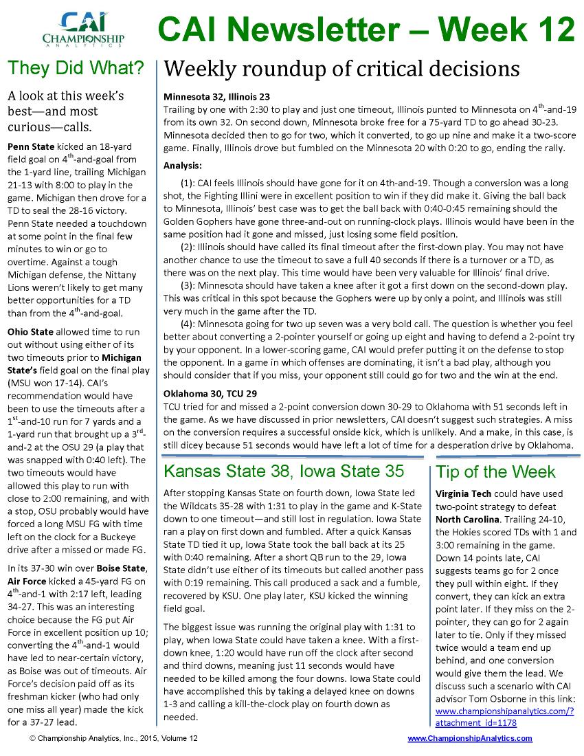 CAI Newsletter - Week 12 2015