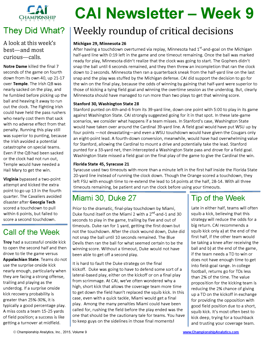CAI Newsletter - Week 9 2015