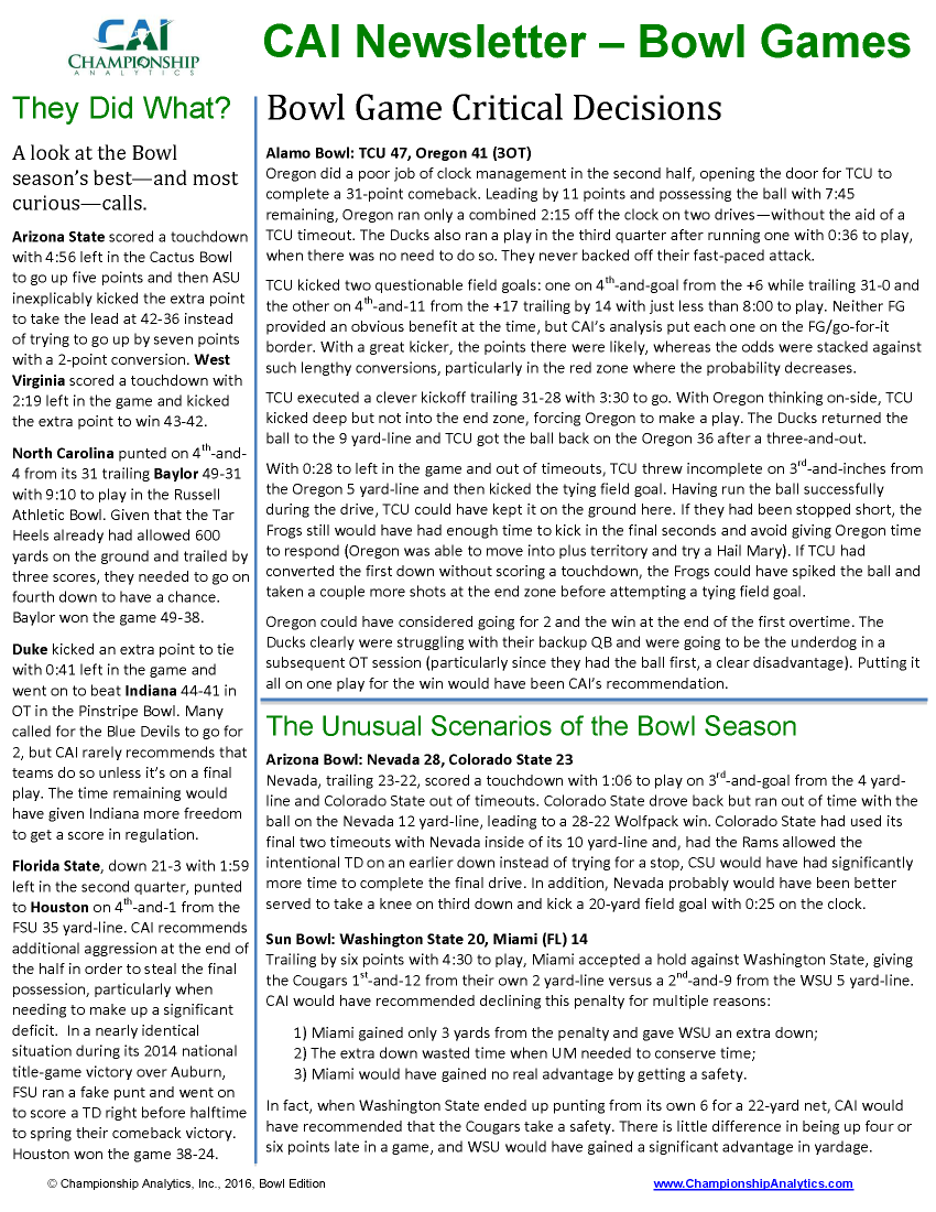 CAI Newsletter - Bowl Games 2015