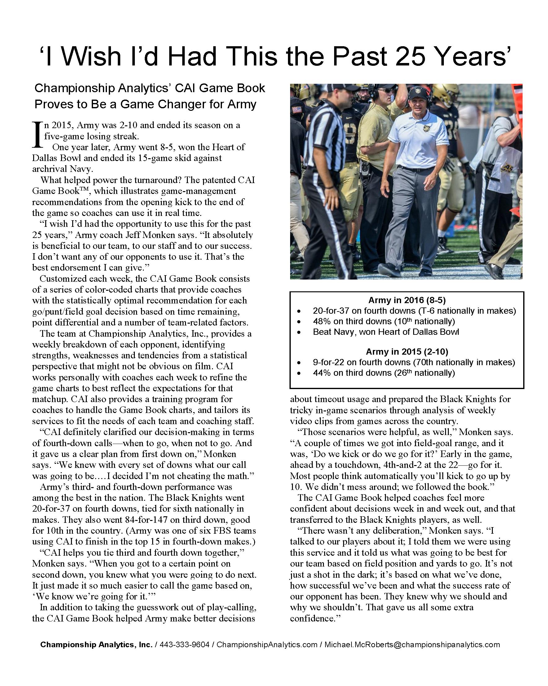 Army Case Study -- CAI